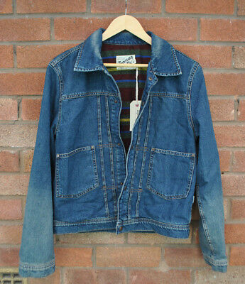 Mens BNWT Topman Denim Jacket Casual Collared Faded Wash Lined Size SMALL UK