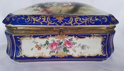 Amazing French Antique Porcelain Sevres Cobalt Blue Jewelry Signed Box 1753