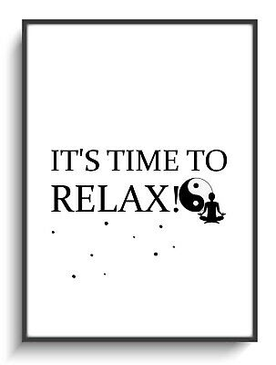 Druck A4 Poster Time To Relax Spruch Yin Yang Wellness