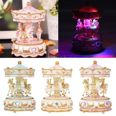 Mini Carousel Clockwork Colorful LED Light Musical Box Children Toys Gift F7E2