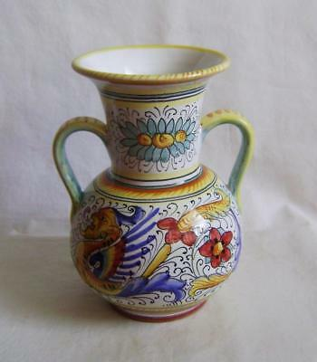 Vintage Italian Deruta Faience Vase with Handles & Mythical Beasts Decoration