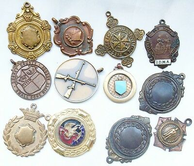 12 Piece Lot of Vintage English Medals Fobs - Mixed Metals - Various Interests