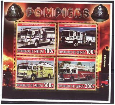 Fire Engines On Stamps -  Sheet of 4 - M1117
