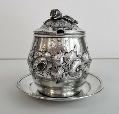 Rare Tiffany & Co Sterling Floral Repousse Mustard Pot 1853 By Jc Moore, Maker