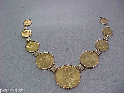 Huge US Gold Coin Necklace Old Gold Coins needs chain to finish it    Make Offer