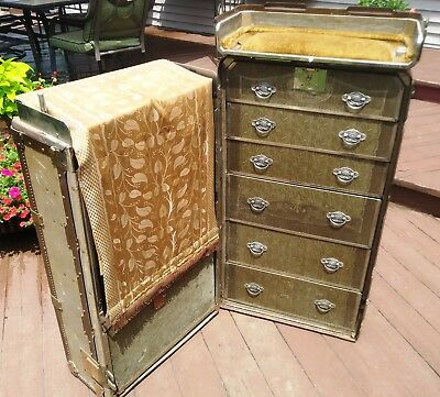 Antique Steamer / Railroad Wardrobe Trunk With Drawers & Secret Drawer Very Cool