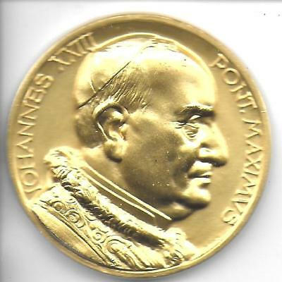 1958-1963 Of Pope John XXIII Gilded Bronze Medal 48 mm Choice UNC