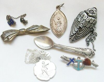 7 Piece Lot Vintage Antique Mostly Sterling Silver Jewelry - Pins Necklace Medal