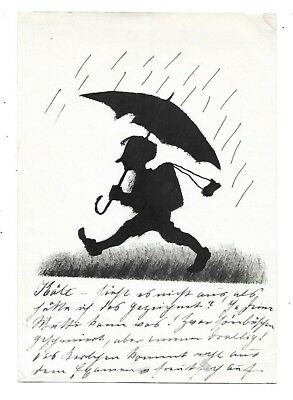 SILHOUETTE Postcard Boy Umbrella 1924 Germany Postmark Artist Darmstadt