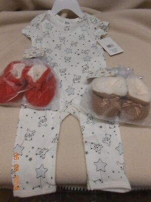 New lot 3 unisex Baby views items sleeper & booties new born up to 6 months