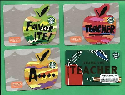 Starbucks Canada Die Cut Apple and Teacher Gift Cards 6152