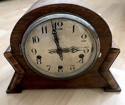 vintage wooden mantle clock