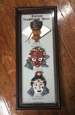 Daejin Korean Traditional Mask in frame shadow box Exorcismo Dance Play