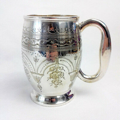 """Vintage Tankard EPNS Silver Plated Floral Etched 5"""" Tall"""