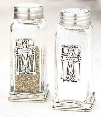 Cross Salt and Pepper Shaker Set Dash of Faith Glass Silver Metal Accents NEW