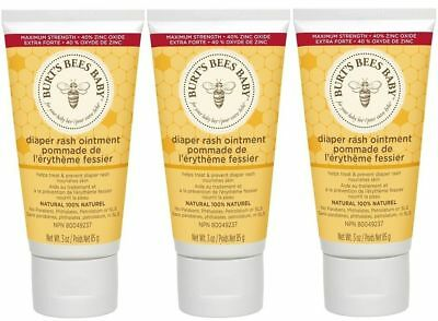 NEW Lot 3 Burt's Bees Baby Bee Diaper Rash Ointment -3 Oz each - 100% Natural