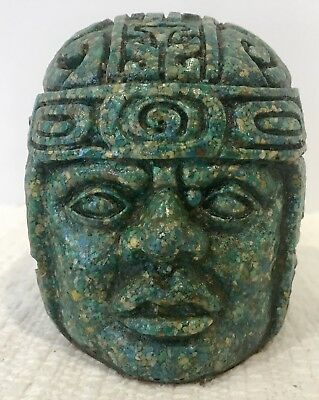 """Vintage Carved Mayan Green Stone Head Sculpture 4"""""""