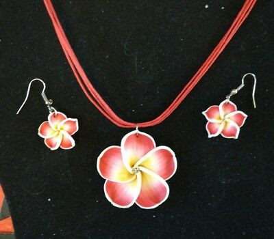 d1f393fb661130 Hawaiian Luau Jewelry Hibiscus Fimo Necklace Earrings Flower Plumeria  Red/Pink