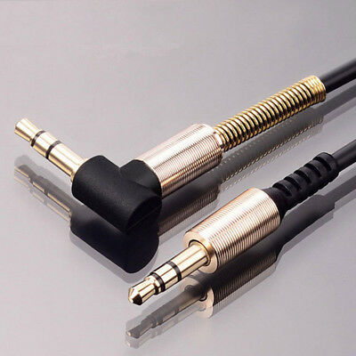 3.5mm Male to Male Car Aux Auxiliary Cord Audio Cable Lot Phone PC U Right Angle