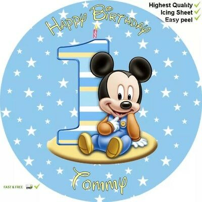 "1ST BIRTHDAY MICKEY MOUSE 8"" Round Premium Icing Sheet Customised Cake topper"