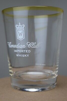 Canadian Club Imported Whisky Rocks Drinking Glass Lot of 3 Vintage Barware