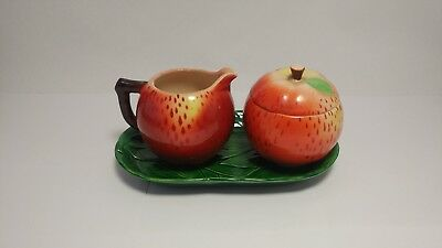 Rare! Maruhon Hand Painted Apple Ware Creamer Sugar and Embossed Leaf Tray Set