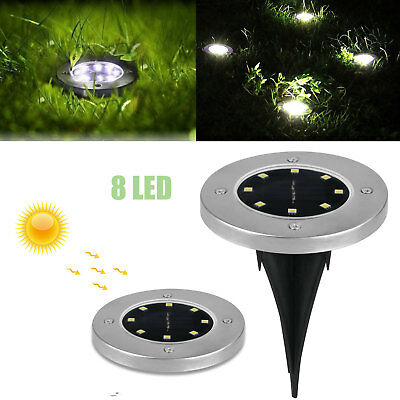 8-LED Waterproof Solar Ground Lights Outdoor for Landscape Patio Yard Lighting