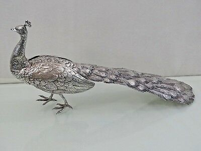 MAGNIFICENT ANTIQUE SILVER FIGURINE STATUE PEACOCK BIRD TABLE ORNAMENT sterling