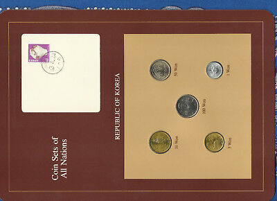 Coin Sets of All Nations Korea w/card 5 coin 1971-1983 UNC 5 won 1971