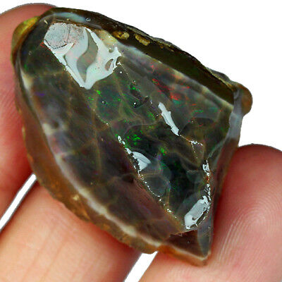 57CT Natural Ethiopian Crystal Black Opal Play Of Color Rough Specimen UYSg363