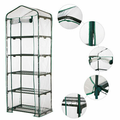 3/4/5-Tier Mini Greenhouse Steel Frame Outdoor Garden Plant Grow House PVC Cover