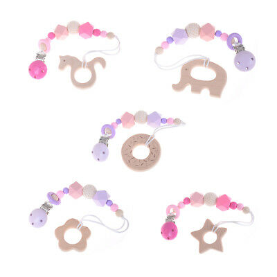 Baby Nursing Bracelets Wooden Teether Crochet Chew Beads Teething Rattles Toys``