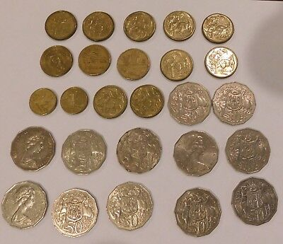 Lot of 12 Australian Coins $10 Total - Legal Tender Australia Half dollar coins