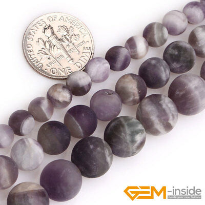 Natural Dream Lace Purple Amethyst Gemstone Frosted Matte Round Loose Beads 15""