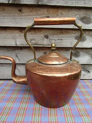 Large Antique Copper & Brass Fireside Kettle Makers Stamp Acorn Finial Rustic