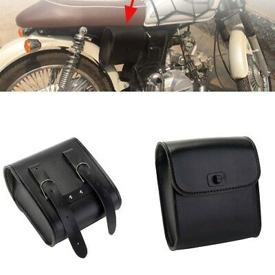 1 x Quick-release Motorcycle PU Leather Handlebar Tool Bag Luggage Saddle Bags
