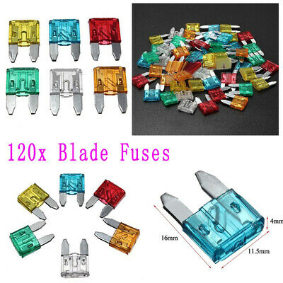 120 Pcs Mixed Mini Blade Fuse Assortment Auto Car Truck Motorcycle Fuses Kit Set