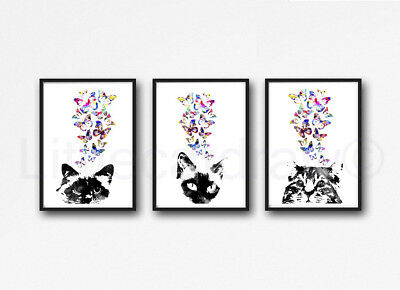 Peeking Cats With Butterflies Set of 3 Watercolour Painting PRINT 5x7 Wall Art