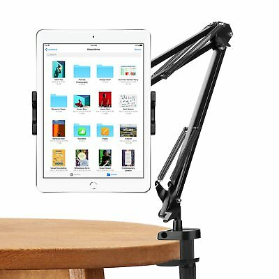 """MoKo 360°Rotating Swivel Iron Arm Lazy Cradle Holder Clamp 10.5"""" Tablet Stand"""