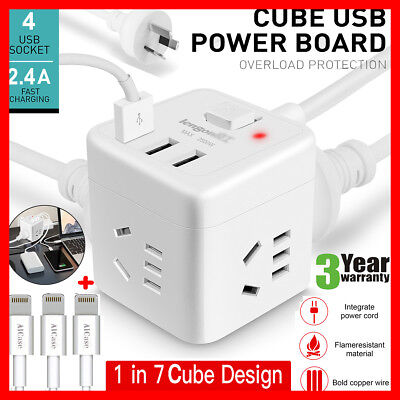 PowerCube 4 Socket Power Board 1.5m Extension Cord/3 USB Charger/Surge Protector