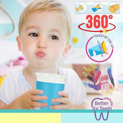 1Pcs Toddler Training Sippy Anti Spill Chew Proof Miracle 360 Degree Trainer Cup