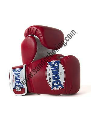 Sandee Authentic Velcro Red & White Synthetic Leather Kids Thai Boxing Gloves