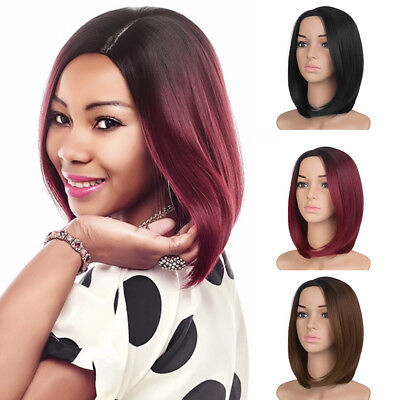 Women Black Short Straight Wigs Ladies Afro Natural Bob Style Hair Wig Fashion