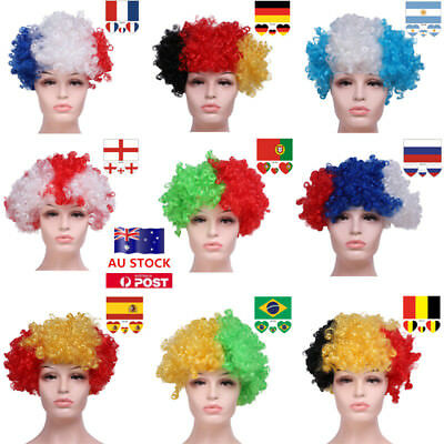 AU 2018 Afro Sport Events Football Fan Supporters Sit Wig + Face Tattoo Sticker