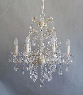 French Chic 6 Arm Cream Iron Chandelier With Genuine Clear Glass Crystals