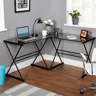 New Metal Glass Black L Shaped Corner Workstation Office Student Computer Desk