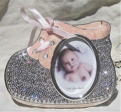 Rhinestone encrusted Baby Girl silver metal picture frame Coral Pink Enamel boot