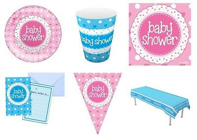 ** Boys Or Girls Baby Shower Party Tableware Range Napkins Plates Cups Invites