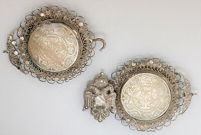 Antique Belt Buckle with Round Carved Mother-of-Pearl Discs - Southern Russia