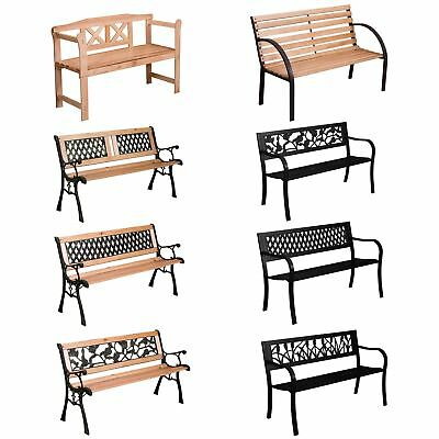 Garden Bench 3 Seater Steel Wooden Outdoor Patio Seating Furniture Seat